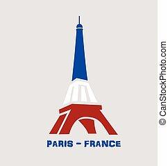paryż, logo, wieża, eiffel, francja