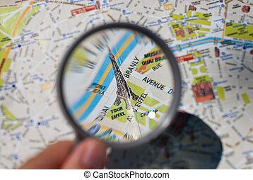 paryż, mapa, turysta