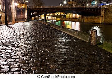 paryż, molo, noc