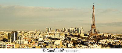 paryż, panorama, wieża, eiffel, prospekt