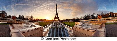 paryż, panorama, wieża, eiffel, wschód słońca