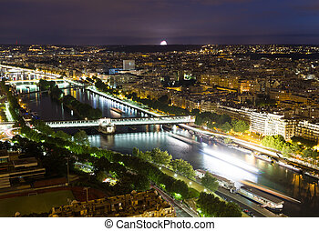 paryż, prospekt, noc