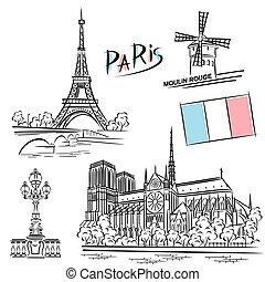 paryż, punkty orientacyjny, komplet