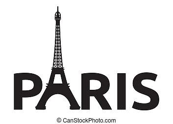 paryż, retro, wieża, karta, -, eiffel