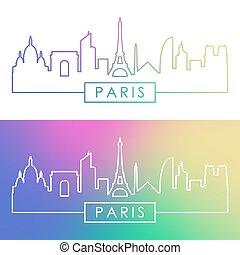 paryż, skyline., barwny, linearny, style.