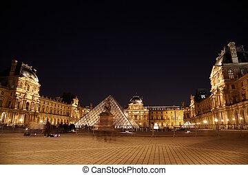 paryż, -, styczeń, 1:, luwr museum, piramida, i, equestrian...