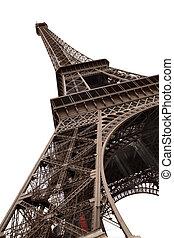 paryż, wieża, eiffel, odizolowany, biały
