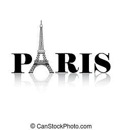 paryż, wieża, eiffel, sylwetka