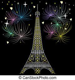 paryż, wieża, wektor, eiffel