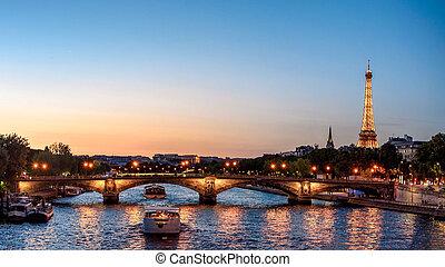 paryż, wieczorny