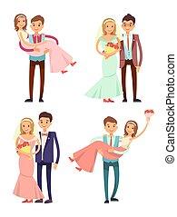 pary, żonaty, ilustracja, wektor, zbiór