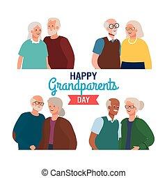pary, sprytny, starszy, rodzice, dzień, wielki, szczęśliwy
