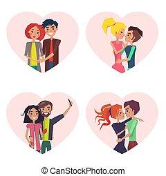 pary, wektor, miłość, zbiór, ilustracja