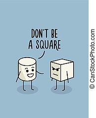 pas, être, humour, poster., carrée