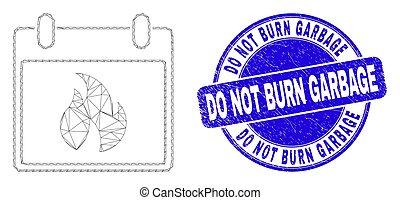 pas, cachet, brulure, feuille, grunge, carcasse, chaud, toile, calendrier, déchets, timbre, bleu