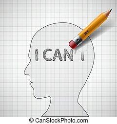 pas, crayon, boîte, erases