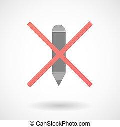 pas, crayon, icône, permis