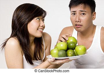 pas, encore, pommes