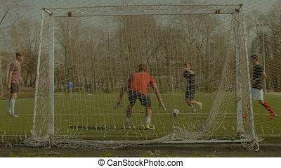 pas, football, pratiquer, jeunes adolescents