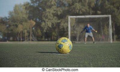 pas, football, prendre, joueurs, penalty