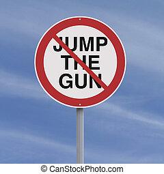 pas, fusil, saut