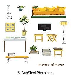 pas, illustration., collection., éléments, conception, intérieur, meubles