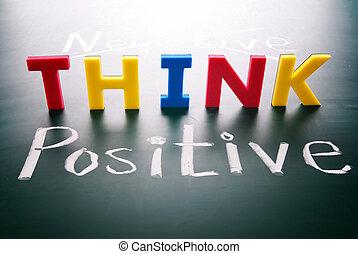 pas, négatif, penser, positif