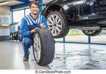 Voiture suspendu pneu m canicien changer magasin for Garage changement de pneu