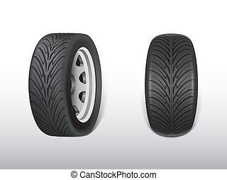 pas, réaliste, vecteur, noir, pneu, 3d