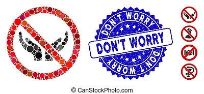 pas, souci, mosaïque, mains, icône, non, timbre, détresse, soin