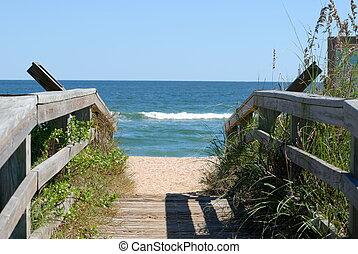 pasaż, do, przedimek określony przed rzeczownikami, plaża