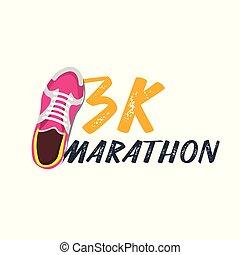 pasaż, illustration., 3k, wektor, sneakers., wypadek, maraton