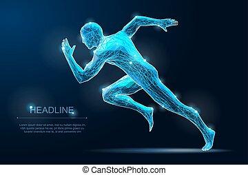 pasaż, illustration., sprinter, poza, początek, ruchomy,...