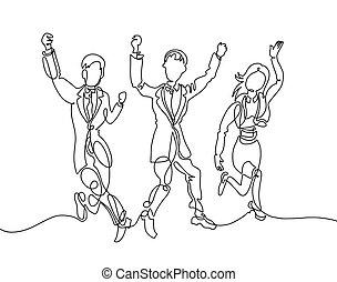 pasaż, ludzie, szczęśliwie, mężczyźni, -, trzy, dwa, rysunek, dziewczyna, jeden, kreska, szczęśliwy