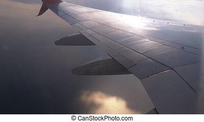 pasażer, niebo, prospekt okna, chmury, samolot, skrzydło