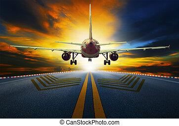 pasażer, od, gagat, bieżnie, lotnisko, samolot, wziąć, w, przygotowując