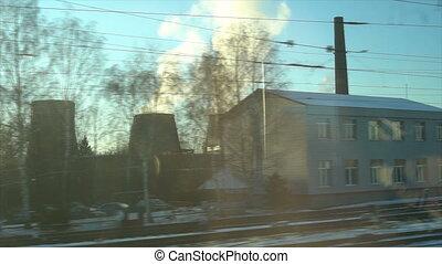 pasażer, roślina, gniazdo zasilania, jądrowy, train., okno, ...