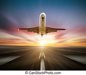 pasażerowie, taking-off, skutek, bieżnia, ruch, tło, plama, samolot