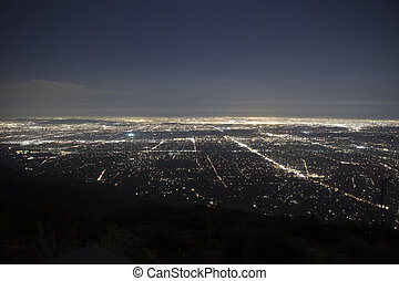 Pasadena California Night - The lights of Los Angeles and...