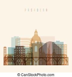Pasadena state California, skyline detailed silhouette....