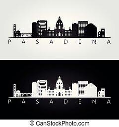 Pasadena usa skyline and landmarks silhouette, black and...