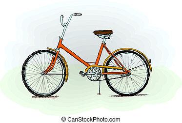 pasado de moda, bicicleta, -, vector