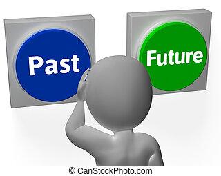 pasado, exposición, botones, futuro, tiempo, progreso, o