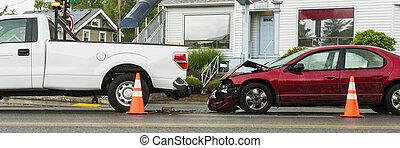 pasajero, accidente, coche, recolección, tráfico, entre, camión