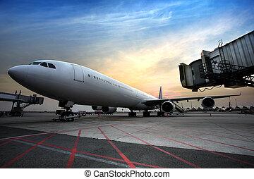 pasajero, aeropuerto, aviones