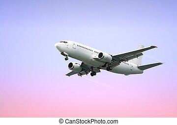 pasajero, avión, chorro