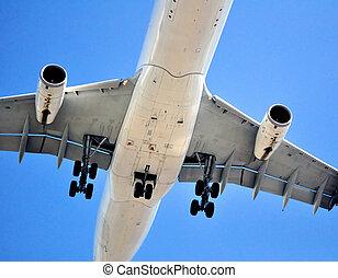 pasajero, avión, transportation:, aire