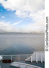 pasajero, canada's, dentro, pasaje, niebla, transbordador,...