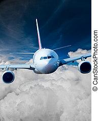 pasajero, cielo, airliner