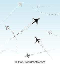 pasajero, comercial, aviones, aire, vuelos, tráfico, línea...